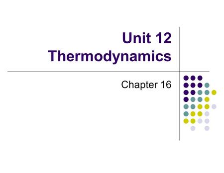 Unit 12 Thermodynamics Chapter 16. Thermodynamics Definition A study of heat transfer that accompanies chemical changes Concerned with overall chemical.