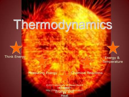 Thermodynamics Think Energy Chemical Reactions Energy & Temperature Measuring Energy Kinetic Energy and Heat ©2011 University of Illinois Board of Trustees.