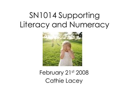 SN1014 Supporting Literacy and Numeracy February 21 st 2008 Cathie Lacey.