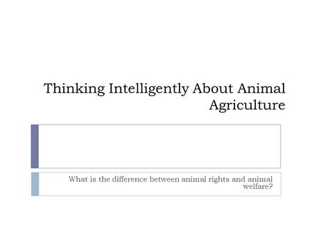 Thinking Intelligently About Animal Agriculture What is the difference between animal rights and animal welfare?