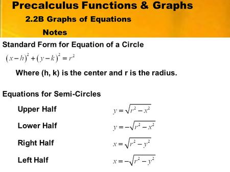 Precalculus Functions & Graphs Notes Standard Form for Equation of a Circle 2.2B Graphs of Equations Where (h, k) is the center and r is the radius. Equations.