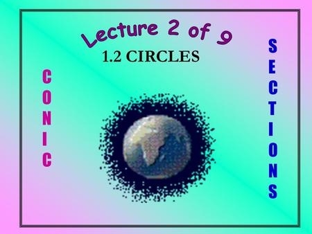 C O N I C S E C T I O N S 1.2 CIRCLES. a.Find the equation of a circle i. passing through three points ii. passing through two points where the equation.