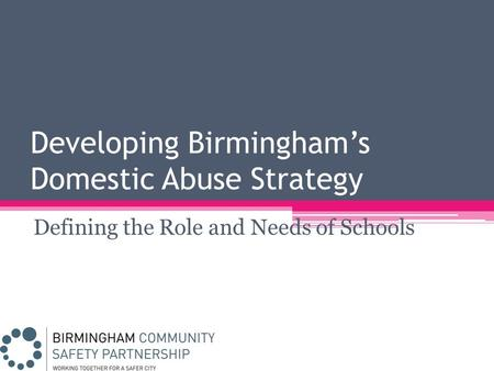 Developing Birmingham's Domestic Abuse Strategy Defining the Role and Needs of Schools.
