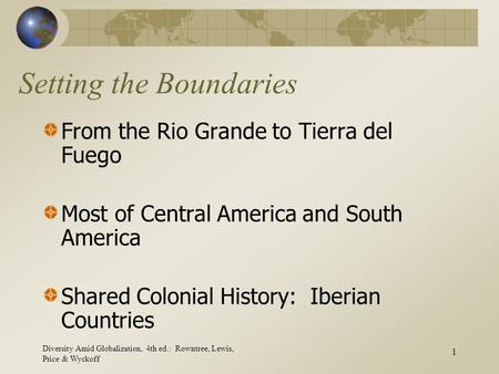 Diversity Amid Globalization, 4th ed.: Rowntree, Lewis, Price & Wyckoff 1 Setting the Boundaries From the Rio Grande to Tierra del Fuego Most of Central.