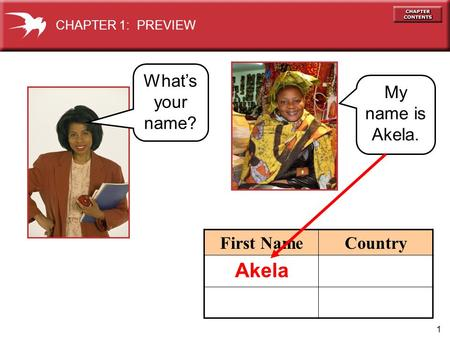 1 First NameCountry My name is Akela. CHAPTER 1: PREVIEW What's your name? Akela.
