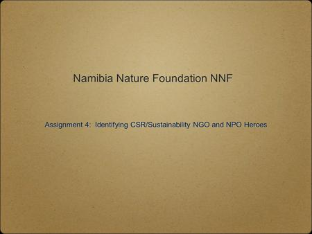 Namibia Nature Foundation NNF Assignment 4: Identifying CSR/Sustainability NGO and NPO Heroes.