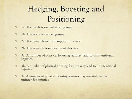Hedging, Boosting and Positioning