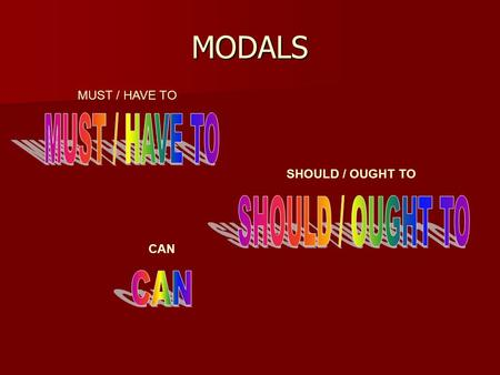 MODALS CAN SHOULD / OUGHT TO MUST / HAVE TO. CAN is one of the most commonly used modal verbs in English It can be used to express: - ability or opportunity.
