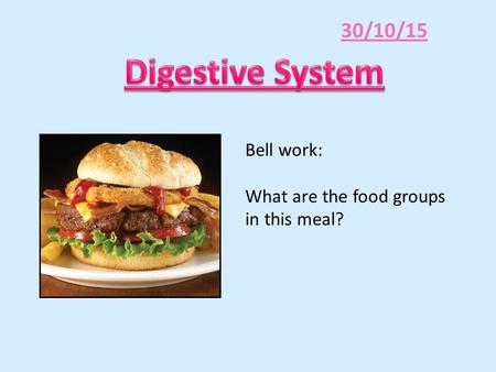 30/10/15 Bell work: What are the food groups in this meal?