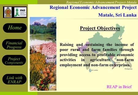 Regional Economic Advancement Project-Matale Financial Progress Project Components Home Link with ENRAP Regional Economic Advancement Project Matale, Sri.