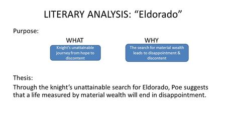 "LITERARY ANALYSIS: ""Eldorado"" Purpose: WHAT WHY Thesis: Through the knight's unattainable search for Eldorado, Poe suggests that a life measured by material."