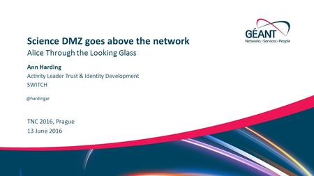 Networks ∙ Services ∙ People  TNC 2016, Prague Alice Through the Looking Glass Science DMZ goes above the network 13 June