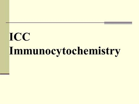 ICC Immunocytochemistry. ICC Immunocytochemistry is a common laboratory technique that is used to anatomically localize presence of a specific protein.