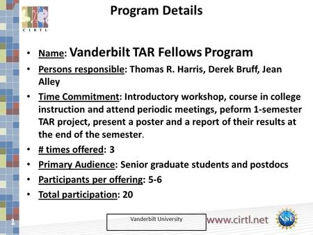 1 Vanderbilt University Name: Vanderbilt TAR Fellows Program Persons responsible: Thomas R. Harris, Derek Bruff, Jean Alley Time Commitment: Introductory.