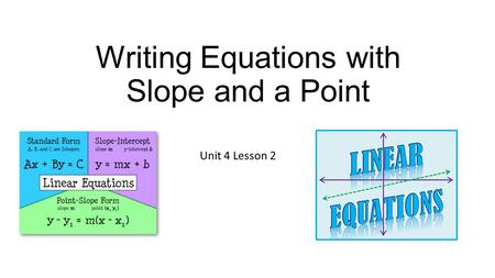 Writing Equations with Slope and a Point Unit 4 Lesson 2.