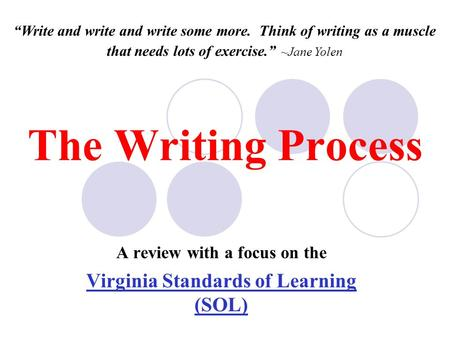 "The Writing Process A review with a focus on the Virginia Standards of Learning (SOL) ""Write and write and write some more. Think of writing as a muscle."