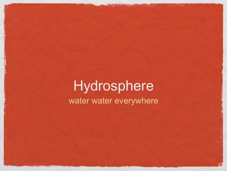 Hydrosphere water water everywhere. The water cycle.