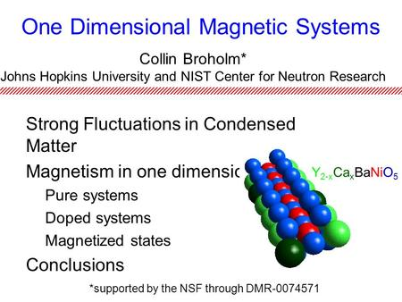 One Dimensional Magnetic Systems Strong Fluctuations in Condensed Matter Magnetism in one dimension Pure systems Doped systems Magnetized states Conclusions.