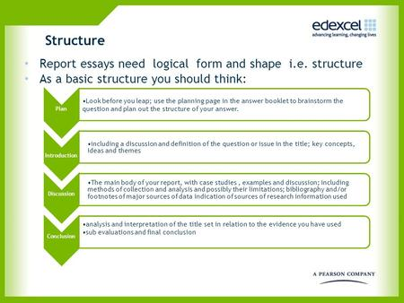 Structure Report essays need logical form and shape i.e. structure As a basic structure you should think: Plan Look before you leap; use the planning page.