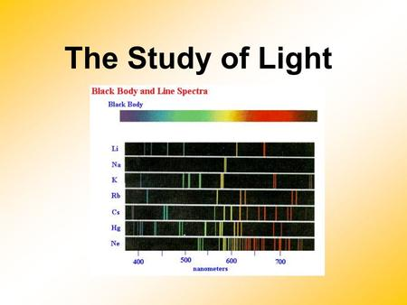 The Study of Light. The Electromagnetic Spectrum  includes gamma rays, X-rays, ultraviolet light, visible light, infrared radiation, microwaves, and.
