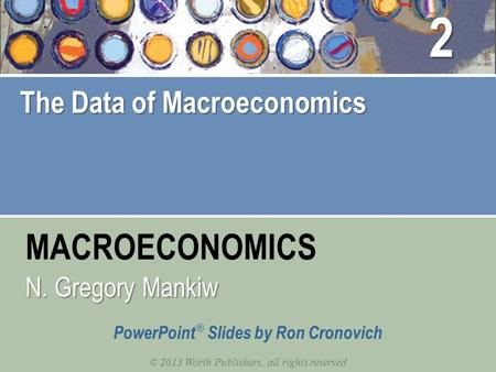 MACROECONOMICS © 2013 Worth Publishers, all rights reserved PowerPoint ® Slides by Ron Cronovich N. Gregory Mankiw The Data of Macroeconomics 2.