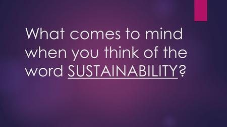 What comes to mind when you think of the word SUSTAINABILITY?