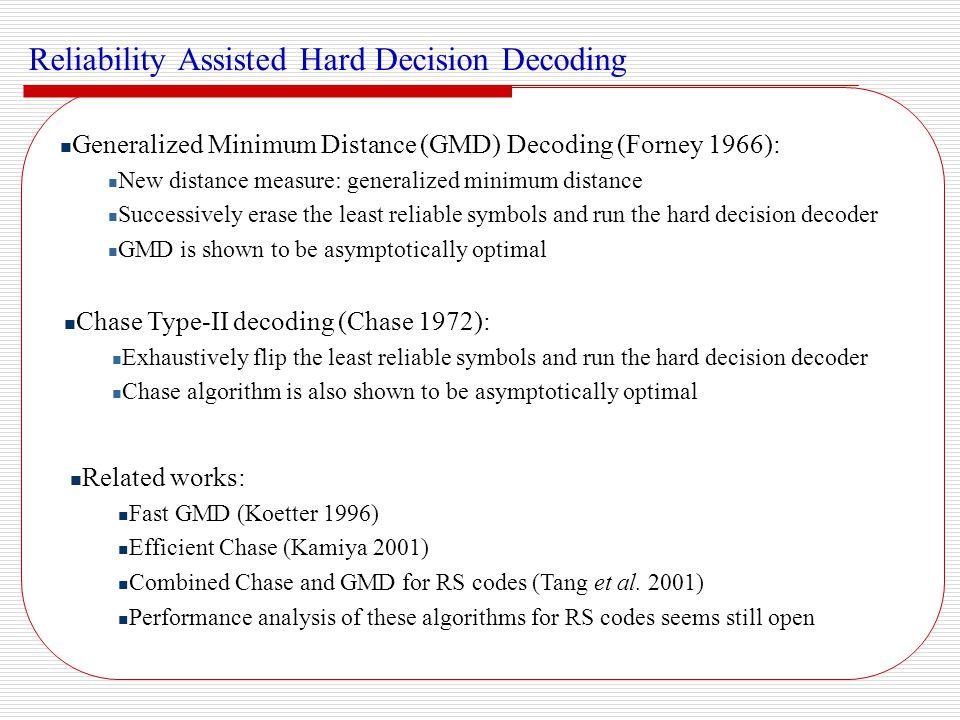 Bounded distance + 1 decoding (Berlekamp 1996) Beyond decoding for low rate RS codes (Sudan 1997) Decoding up errors (Guruswami and Sudan 1999) A good tutorial paper (JPL Report, McEliece 2003) Algebraic Beyond Half d min List Decoding