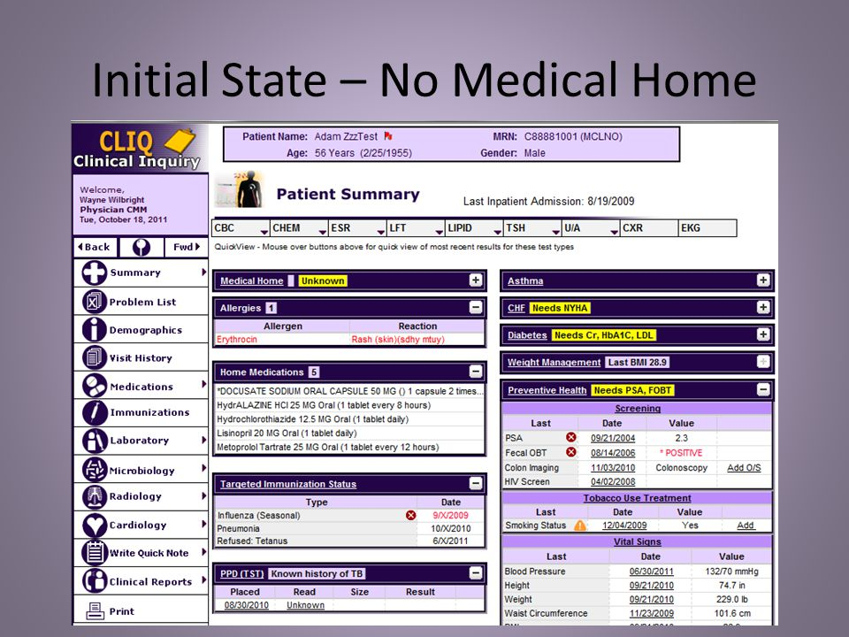 Medical Home Fields Blank