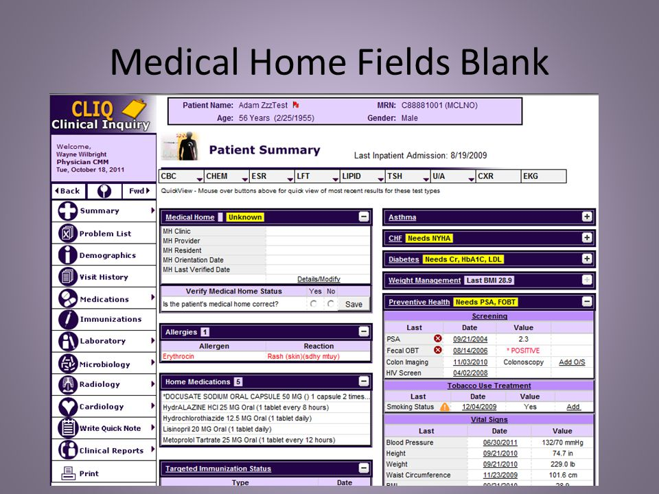 Medical Home Fields Populated
