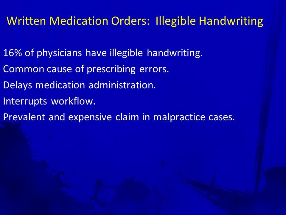 Illegible Handwriting: Error Prevention Prescribers' Obligation Write/Print More Carefully Computers Verbal Communications