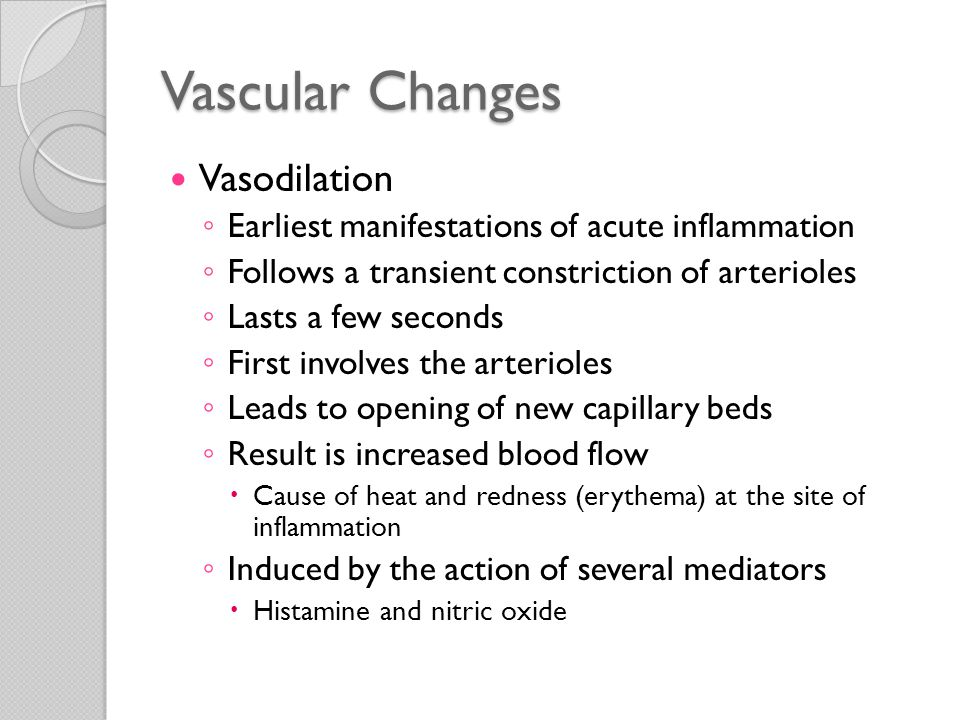 Vascular Changes Vasodilation ◦ Followed by increased permeability of the microvasculature  Outpouring of protein-rich fluid into the extravascular tissues Loss of fluid and increased vessel diameter ◦ Leads to slower blood flow, concentration of red cells in small vessels, and increased viscosity of the blood  Changes result in dilation of small vessels  Packed with slowly moving red cells  Stasis