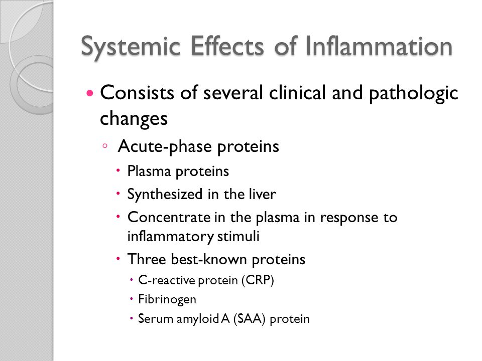Systemic Effects of Inflammation Consists of several clinical and pathologic changes ◦ Leukocytosis  Common feature of inflammatory reactions  Especially those induced by bacterial infections  Leukocyte count usually climbs to 15,000 or 20,000 cells/ μ L