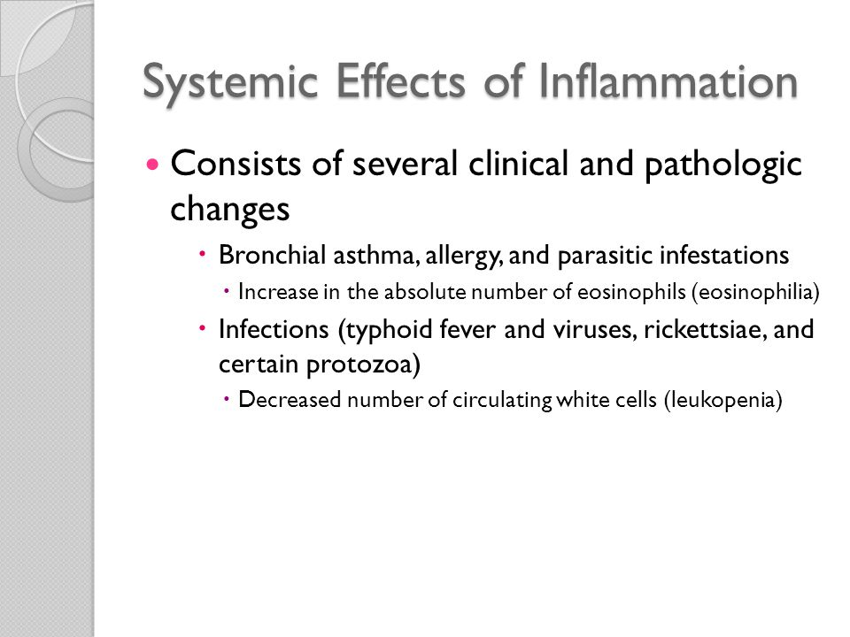 Systemic Effects of Inflammation Consists of several clinical and pathologic changes ◦ Increased pulse and blood pressure ◦ Decreased sweating  Redirection of blood flow from cutaneous to deep vascular beds  Minimizes heat loss through the skin ◦ Rigors (shivering) ◦ Chills (search for warmth) ◦ Anorexia ◦ Somnolence