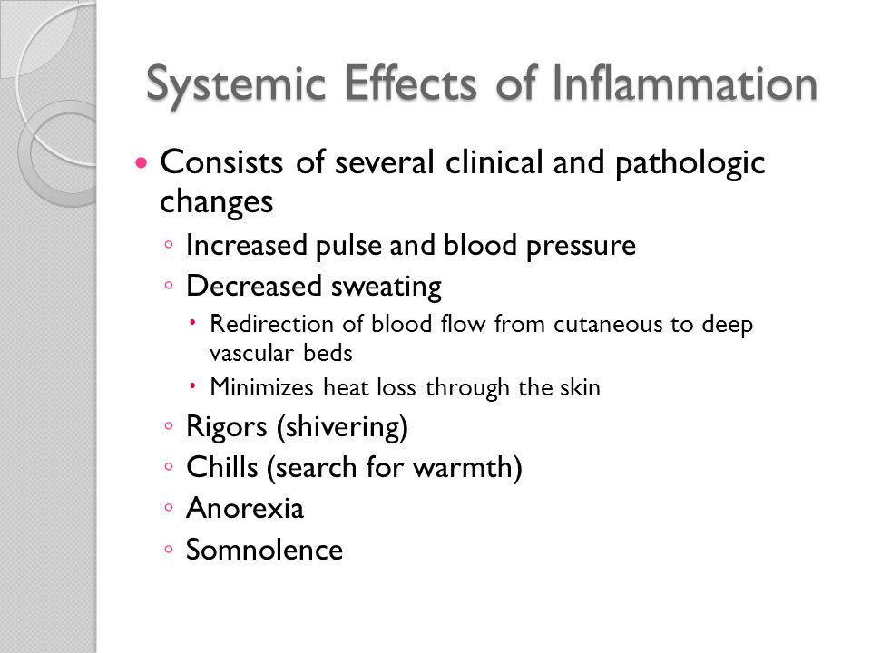 Consequences of Defective or Excessive Inflammation Defective inflammation ◦ Results in increased susceptibility to infections ◦ Associated with delayed wound healing ◦ Provides the necessary stimulus to get the repair process started Excessive inflammation ◦ Basis of many types of human disease ◦ Allergies  Disorders in which the fundamental cause of tissue injury is inflammation