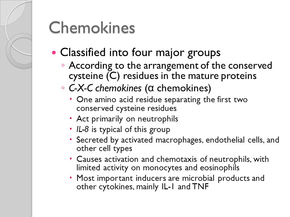 Chemokines Classified into four major groups ◦ C-C chemokines ( β chemokines)  First two conserved cysteine residues adjacent  Generally attract monocytes, eosinophils, basophils, and lymphocytes but not neutrophils ◦ C chemokines ( γ chemokines)  Lack two (the first and third) of the four conserved cysteines  Lymphotactin  Relatively specific for lymphocytes