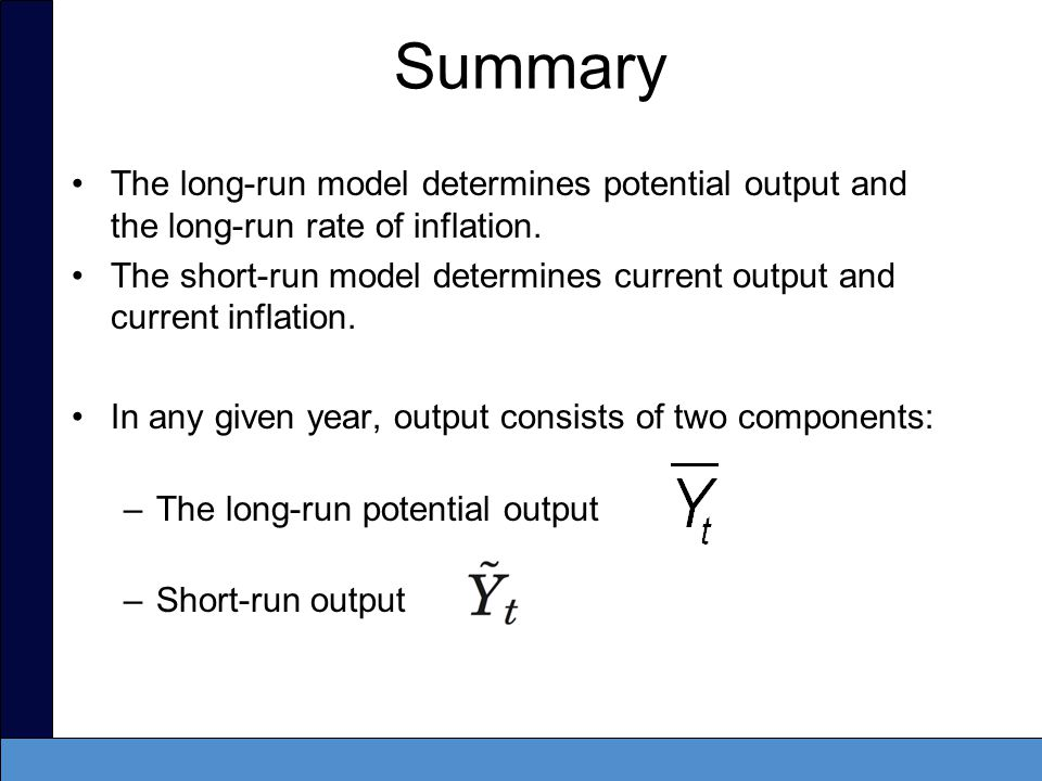 Short run output –Is the percentage difference between actual and potential output.