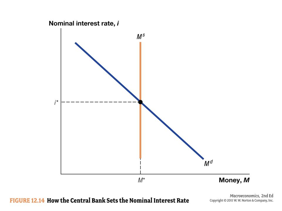 The nominal interest rate –Is the opportunity cost of holding money –Is the amount you give up by holding money instead of keeping it in a savings account –Is pinned down by equilibrium in the money market If the nominal interest rate is higher than its equilibrium level –Households hold their wealth in savings rather than currency.