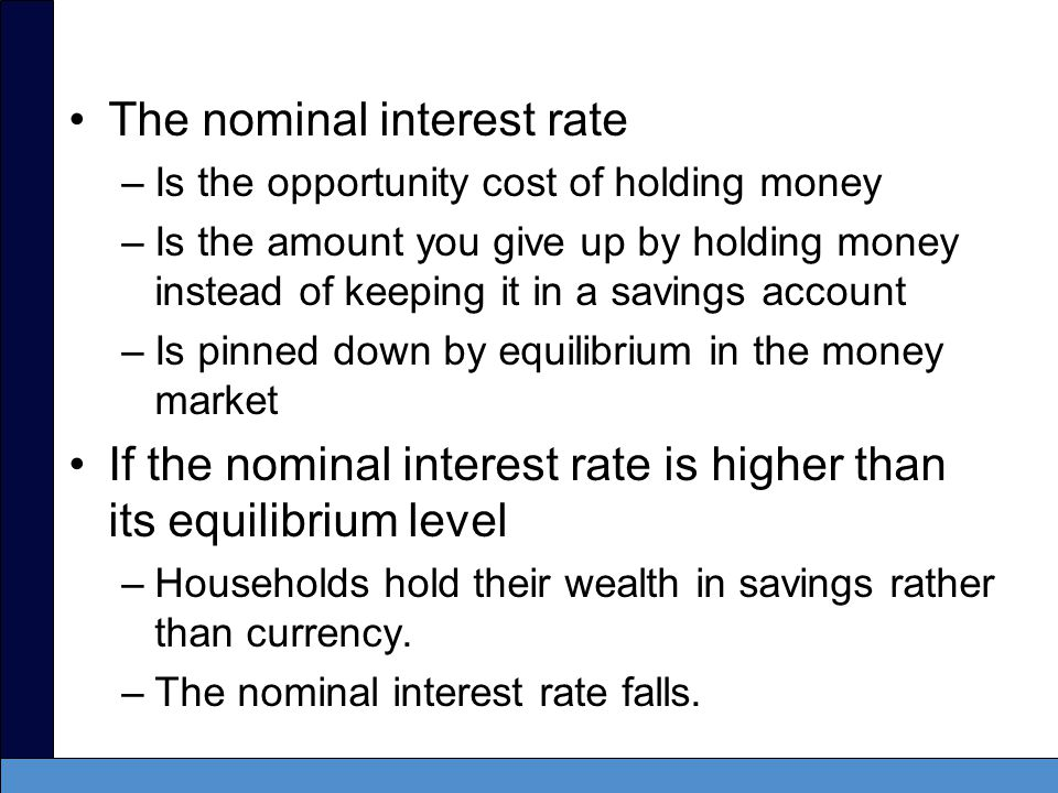 The demand for money –Is a decreasing function of the nominal interest rate –Is downward sloping –Higher interest rates reduce the demand for money.