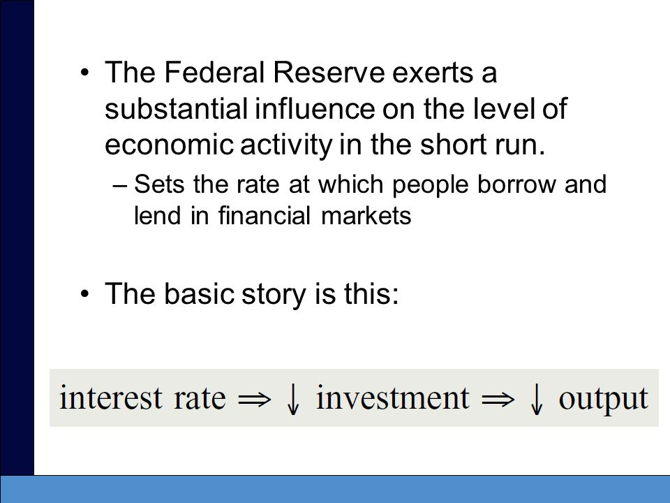 The IS curve –The IS curve captures the relationship between interest rates and output in the short run.