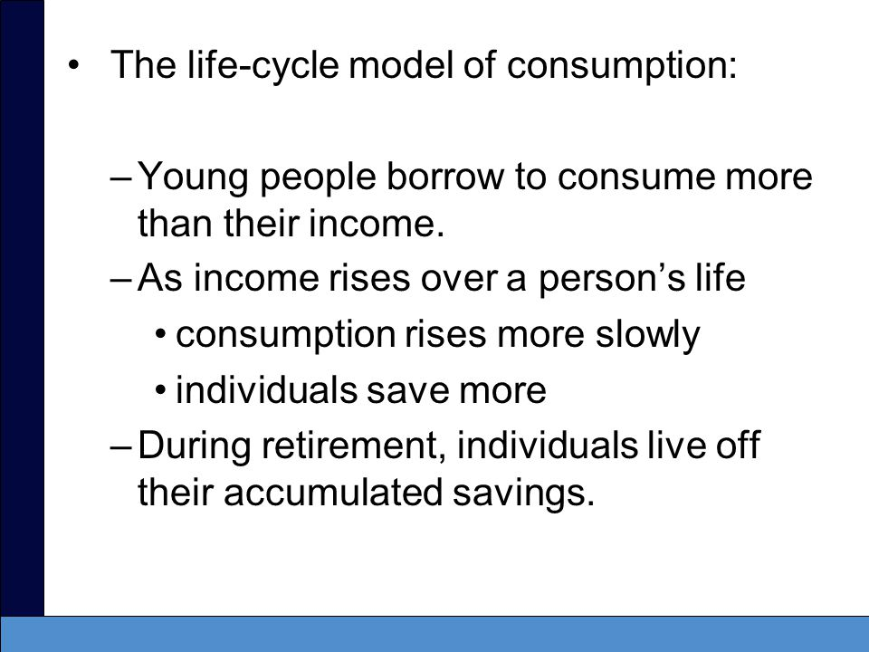 The life-cycle/permanent-income (LC/PI) hypothesis –Implies that people smooth their consumption relative to their income –This is why we set consumption proportional to potential output rather than actual output.