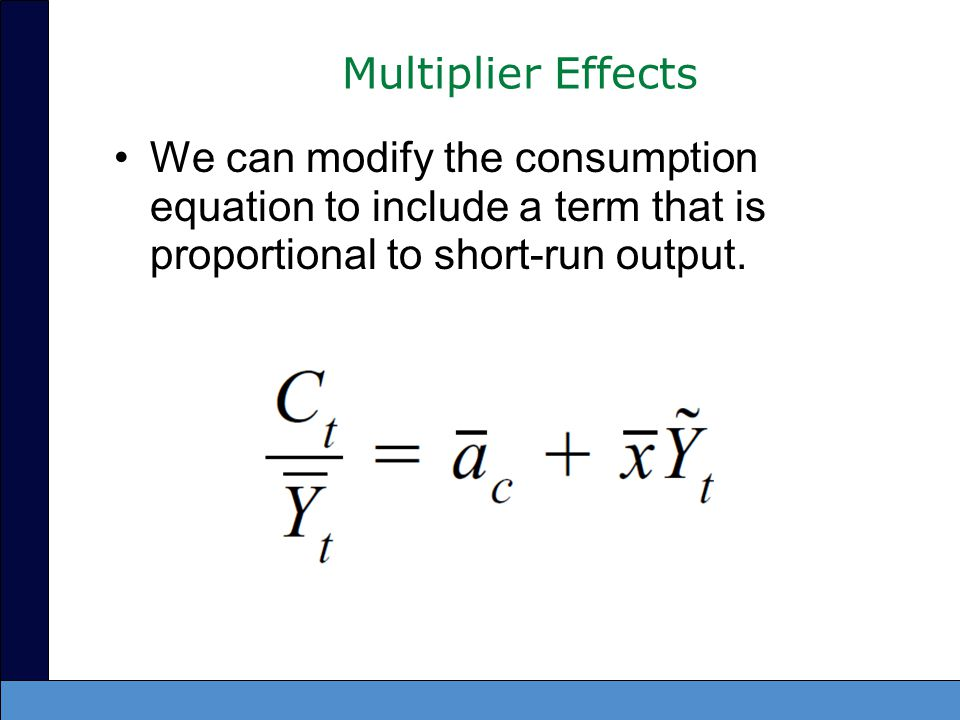 Solving for the IS curve –Will yield a similar result –Now includes a multiplier on the aggregate demand shock and interest rate terms: the multiplier is larger than one