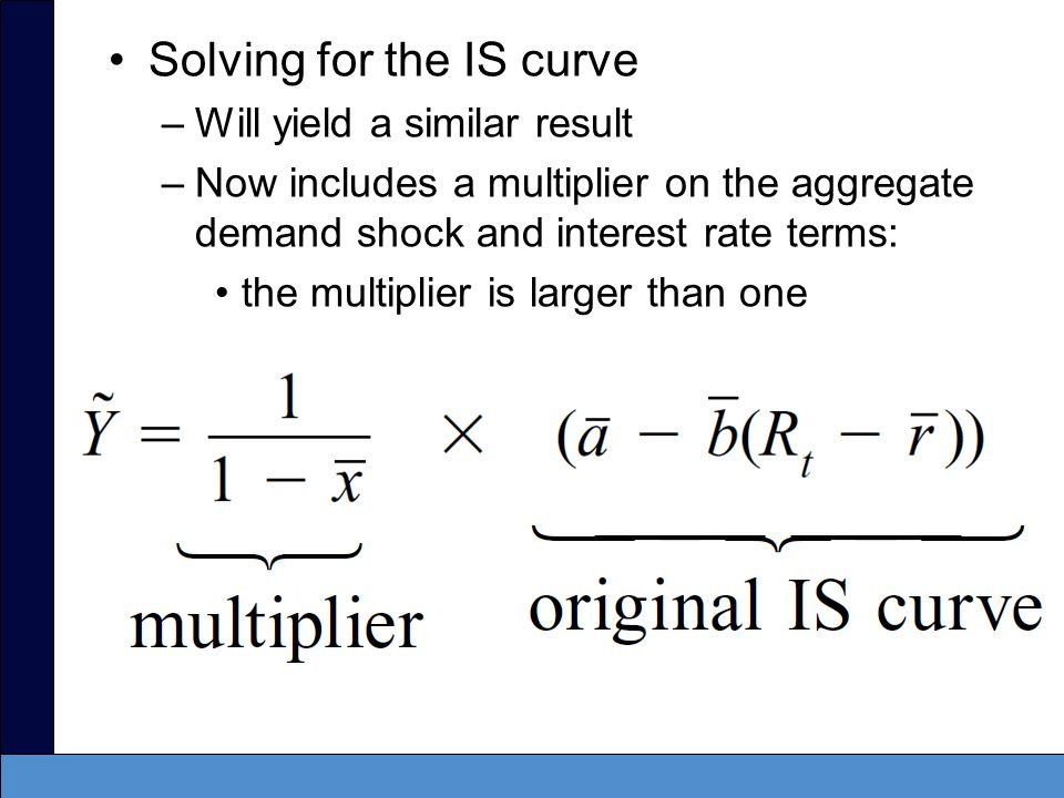 With a multiplier: –Aggregate demand shocks will increase short-run output by more than one-for-one.