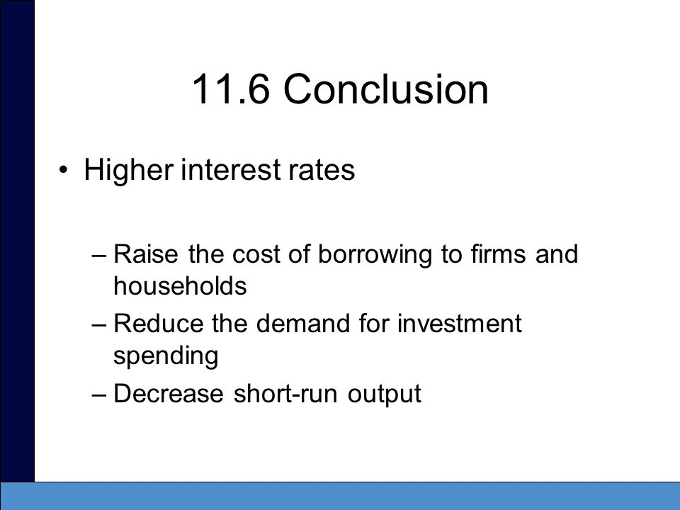 Summary The IS curve –Describes how output in the short run depends on the real interest rate and on shocks to the aggregate economy –Shows a negative relationship between output and the real interest rate When the real interest rate rises, the cost of borrowing increases, leading to delayed purchases of capital.
