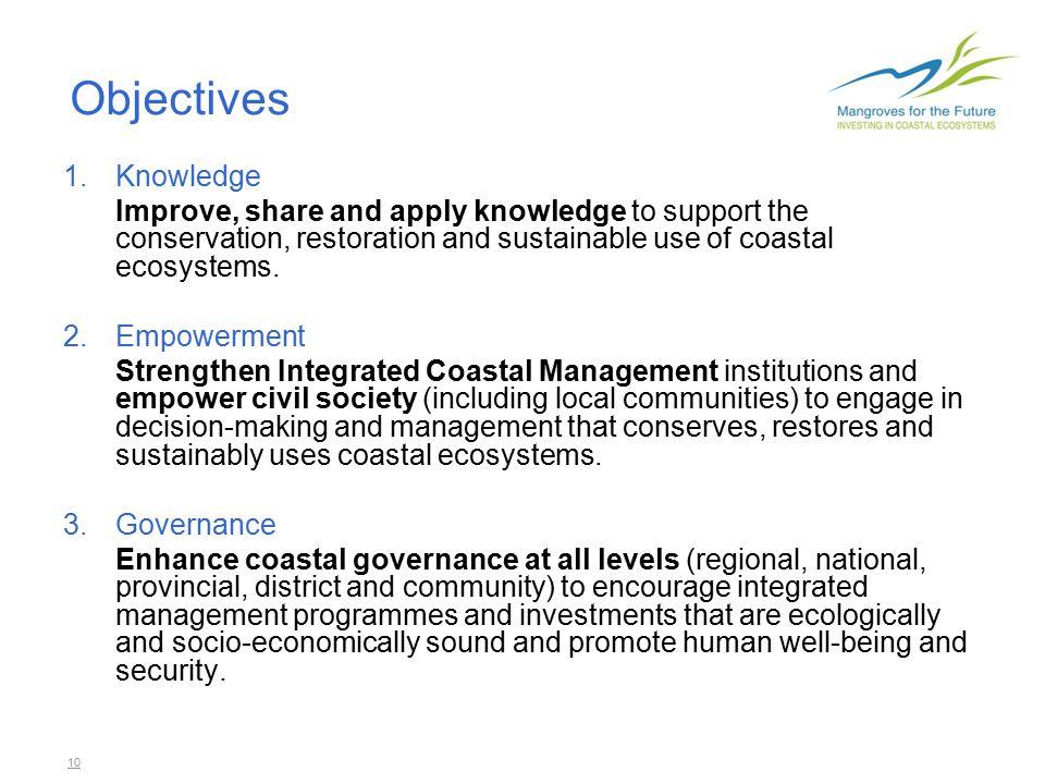 11 Knowledge 1.Knowledge base for coastal management 2.Ecologically and socio-economically sound rehabilitation 3.'Reef-to-ridge' approaches 4.Ecosystem valuation 5.Environmental evaluation of post- tsunami response.