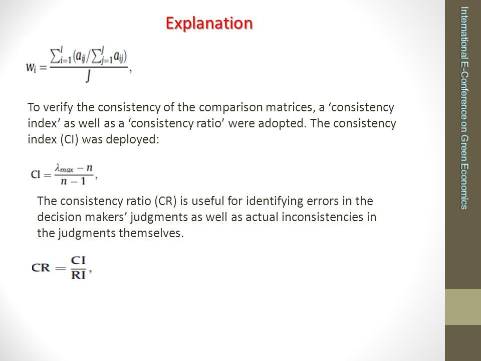 where the 'average consistency index' (RI) varies depending on the size (n) of the matrix.