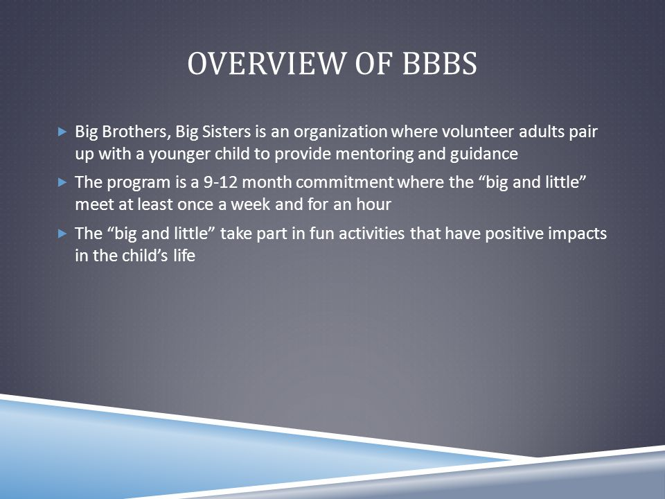 CURRENT SOCIAL MEDIA & MARKETING  The Big Brothers, Big Sisters website is currently under the supervision of the Youth Service Bureau agency  While searching in Google, Big Brothers, Big Sisters does not come up as one of the top 3 websites, instead a link to the YSB that has a link to BBBS website and Facebook Page  BBBS currently has their own Facebook page that they do not utilize, instead they post to the YSB Facebook page  BBBS frequently post pictures and event updates, but they do not have many videos  BBBS also weekly uploads voice recordings that updates the public on current and upcoming events  We were told that we were not going to be able to alter the website, so we decided to focus on how we could better promote the organization throughout the community other than improving their website