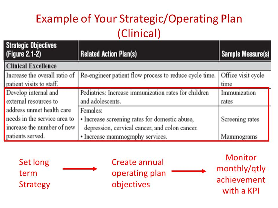 Example of Your Strategic/Operating Plan (Clinical) Set long term Strategy Create annual operating plan objectives Monitor monthly/qtly achievement with a KPI