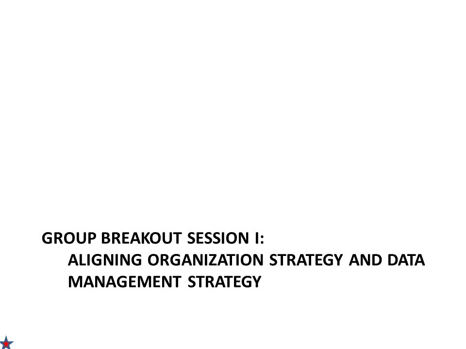 GROUP BREAKOUT SESSION I: ALIGNING ORGANIZATION STRATEGY AND DATA MANAGEMENT STRATEGY