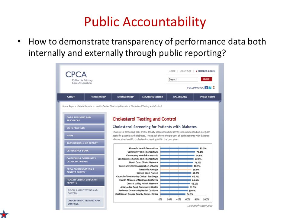 Public Accountability How to demonstrate transparency of performance data both internally and externally through public reporting?