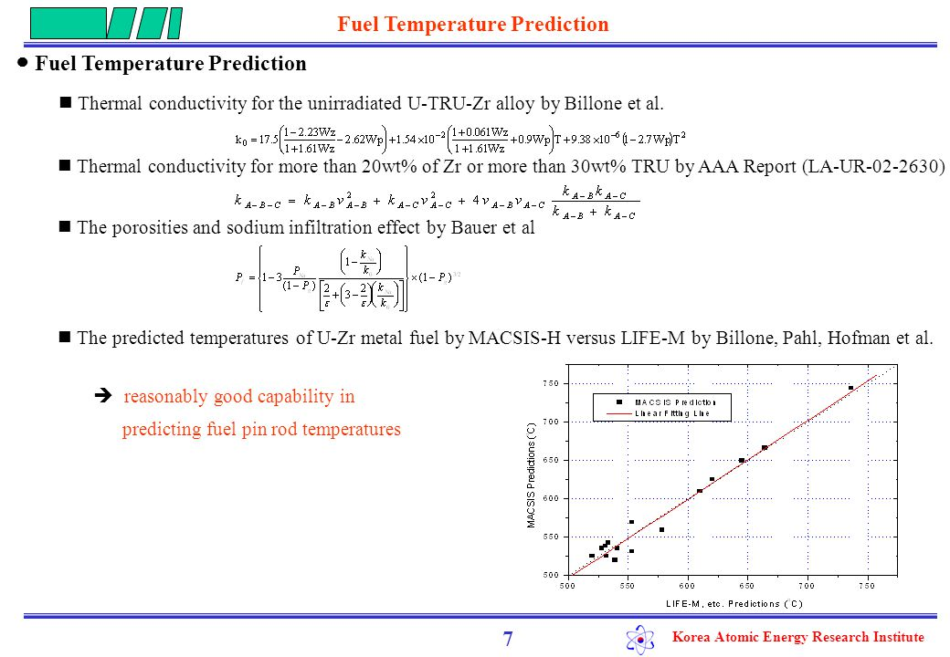 Korea Atomic Energy Research Institute ● Fuel temperature limits on fuel melting calculated solidus temperature of U-42TRU-50Zr and U-20TRU-14.6Zr : 1090 and 1295 o C, respectively calculated power-to-melt for HYPER fuel: 420 W/cm (in case of 50 % degraded thermal conductivity and at hot channel) calculated power-to-melt for critical system fuel : 500 W/cm 8 The operating limits on linear power rate for metallic fuel pin in HYPER and critical system Fuel Temperature Prediction